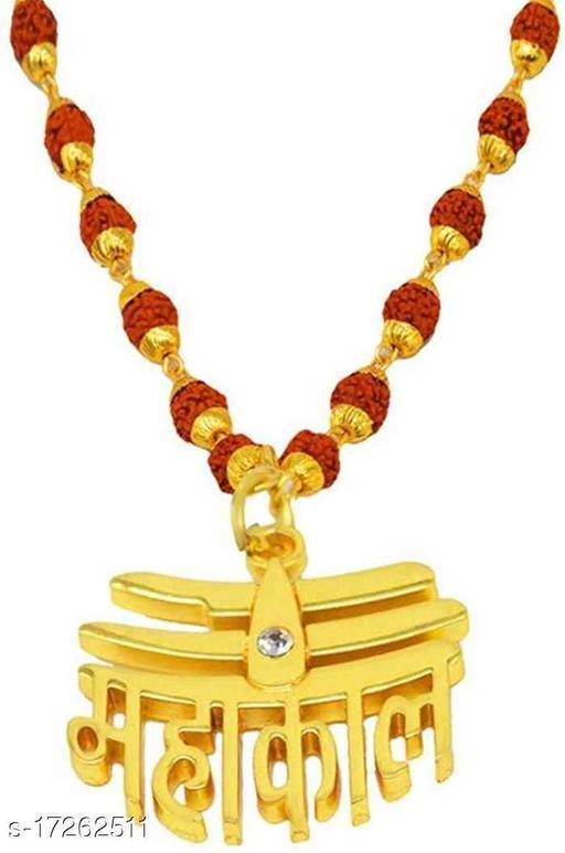 Gold Plated Loard Shiva Mahakal Locket with Rudraksha Mala Gold-plated Metal Pendant