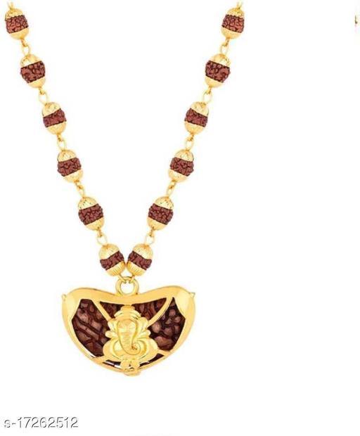 Religious Jewelry Ek Mukhi Rudraksha Locket With Ganesh Locket With Puchmukhi Rudraksha Mala Gold-plated Plated Wood Chain Gold-plated Brass, Wood