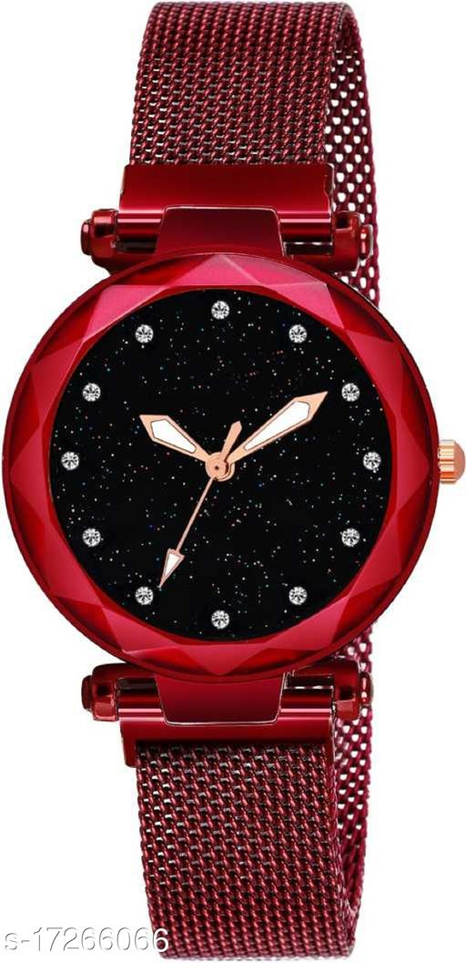 Black Dial Megnatic Strap 2020 New Year Deal Women Analog Watch