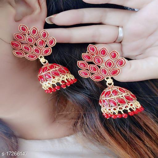 Beauty Dream Fancy Stylish Casual & Party Wear Red Color Earring Jhumki For Girl's/Women Alloy Jhumki Earring