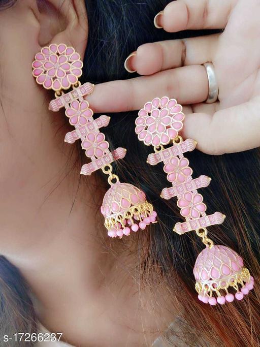 Beauty Dream Fancy Stylish Casual & Party Wear Pink Color Earring Jhumki For Girl's/Women Alloy Jhumki Earring