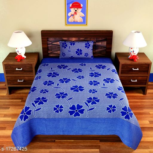 Croton tend presents single polycoton bedsheet Size(60x90) with one pillow cover Size(16x26).