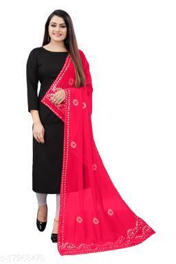 Chiffon Embellished PINK Women Dupatta