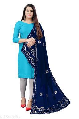 Chiffon Embellished NAVY BLUE Women Dupatta