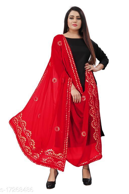 Chiffon Embellished RED Women Dupatta