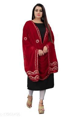 Chiffon Embellished MAROON Women Dupatta