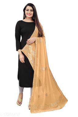 Chiffon Embellished GOLD Women Dupatta