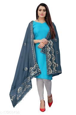 Chiffon Embellished GREY Women Dupatta