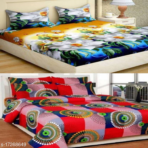 Croton tend Presents pair of these combo bedsheet with attractive designer bedsheet Size(88x88)inch with Four pillow covers 2 of each.