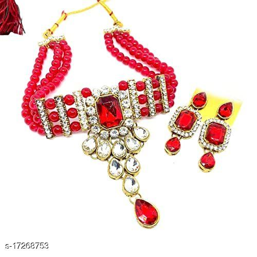 Red Jedex & Crystal Beats With Crystal Stone Choker Set With Earring Jewellery Set