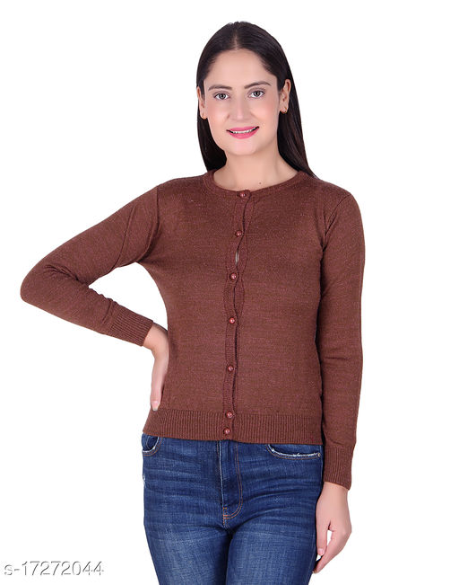 Ogarti woollen full sleeve round neck Women's  Cardigan