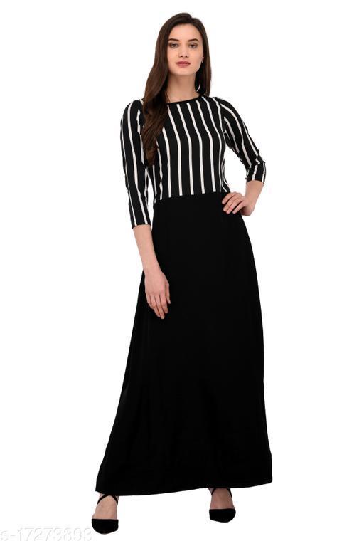 Women's Black Crepe Gown