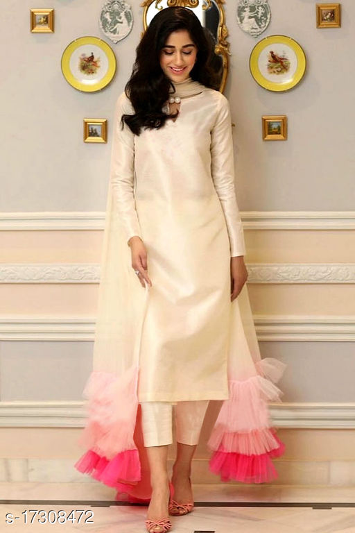 Amazing peach Colored Partywear Top and Ankle length pent with Net Beautiful Duppata