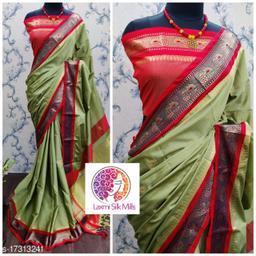 Laxmi silk Pista and Red Cotton silk Pethni Design saree