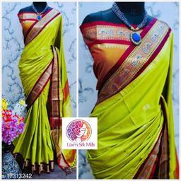 Laxmi silk Lemon and Maroon Cotton silk Pethni Design saree