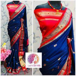 Laxmi silk Nevyblue and Red Cotton silk Pethni Design saree