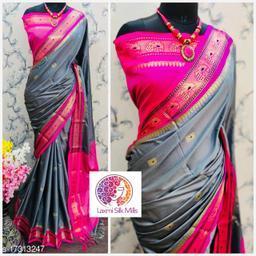 Laxmi silk Grey and Pink Cotton silk Pethni Design saree