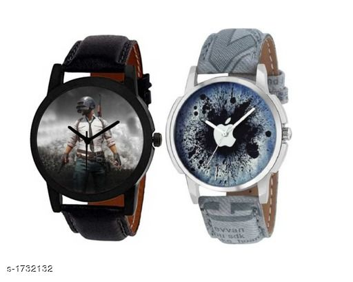 Boy's Classic Leather Analog Watches (Pack Of 2)