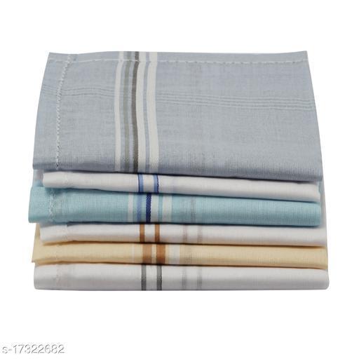 NFI essentials 100% Cotton Premium Collection Handkerchiefs Hanky For Mens & Boys - Pack of 6. - White Striped ( Size : 46x46cm )