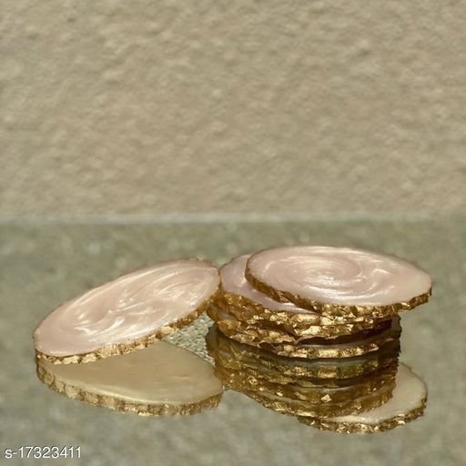 Set of 6 Resin Oval Coasters (Cream)