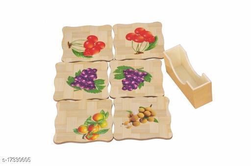 Bamboo Tea Coaster Printed Fruit Coaster 6 Pcs With Holder