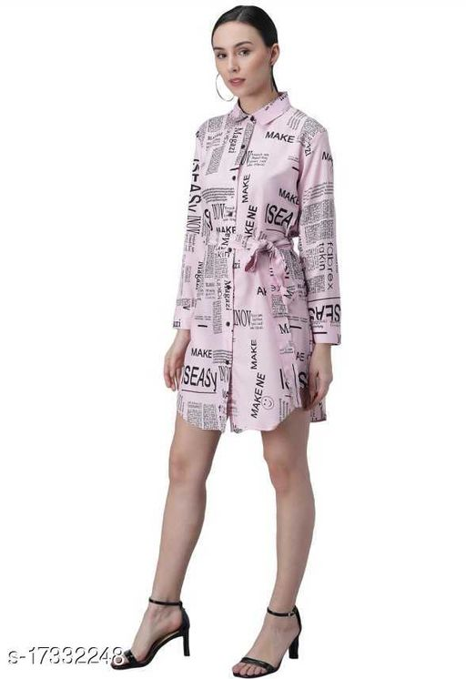 Women's Shirt Paper Print (Pink)