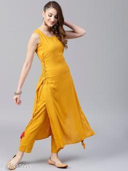 Women Viscose Rayon A-line Solid Mustard Kurti