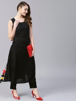 Antaran Black Solid Sleeveless long kurta With side tassel details