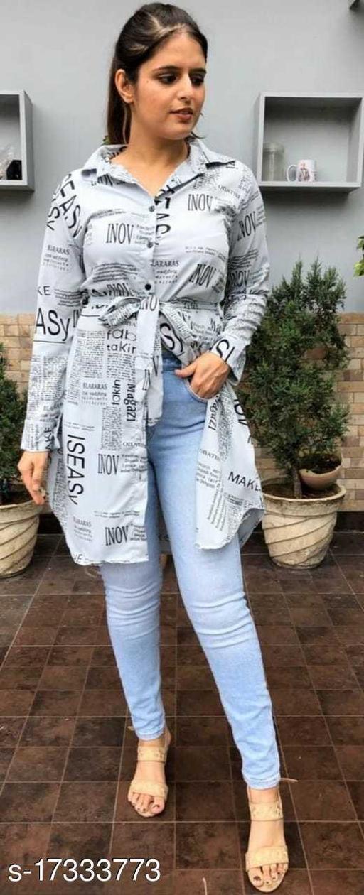 Women's Shirt Paper Print (Grey)