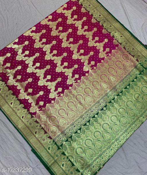 Fashionable Party Wear Banarsi Silk Saree (12Pink)