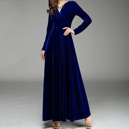 Women's V-Neck Velvet Long Dress