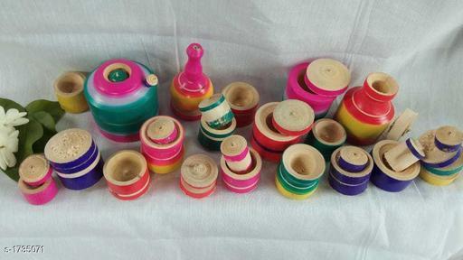 Stylish Handicraft Wooden Kids Kitchen Set