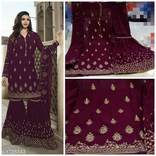 Partywear Georgette Embroidery Suit & Dress Material