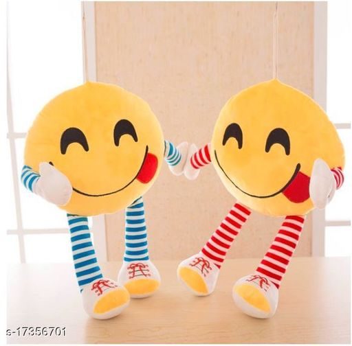 Decorative 2 Pack Smiley/Emoji Embroidery work pillows