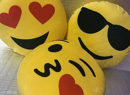 Decorative 3 Pack Smiley/Emoji Embroidery work pillows