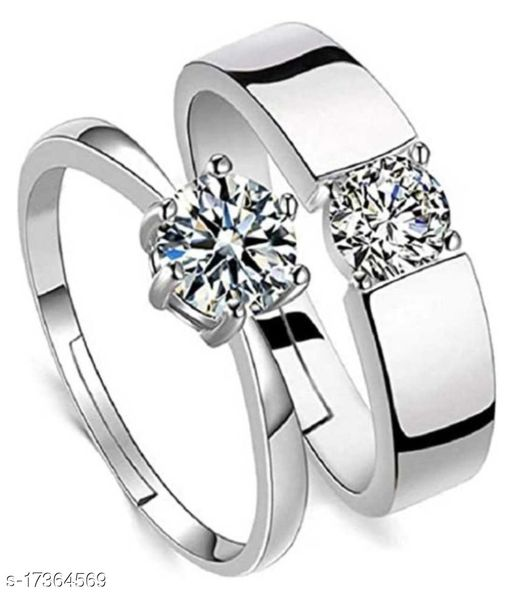 Adjustable King and Queen Couple Dimond Design Ring for Boys & Girls Charming & Beautiful valentine Gift for your loved Couple Ring Brass Zircon Sterling Plated Ring