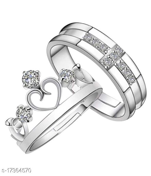 Adjustable King and Queen Couple Crown Ring for Boys & Girls Charming & Beautiful valentine Gift for