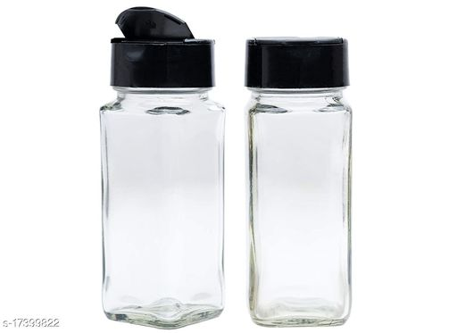 Salt & Pepper Glass Square Spice Jar with black lid, Two Sided Sifter Cap, Masala jar, Spice Container Square.
