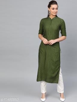 Women Viscose Rayon Straight Stripe Kurti