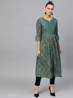 Indo Era Green Printed Anarkali Kurtas