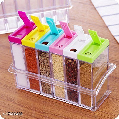 6 spice shaker jars seasoning box condiment jar storage container with tray for salt sugar 6 in 1 rack crystal lid piece for kitchen