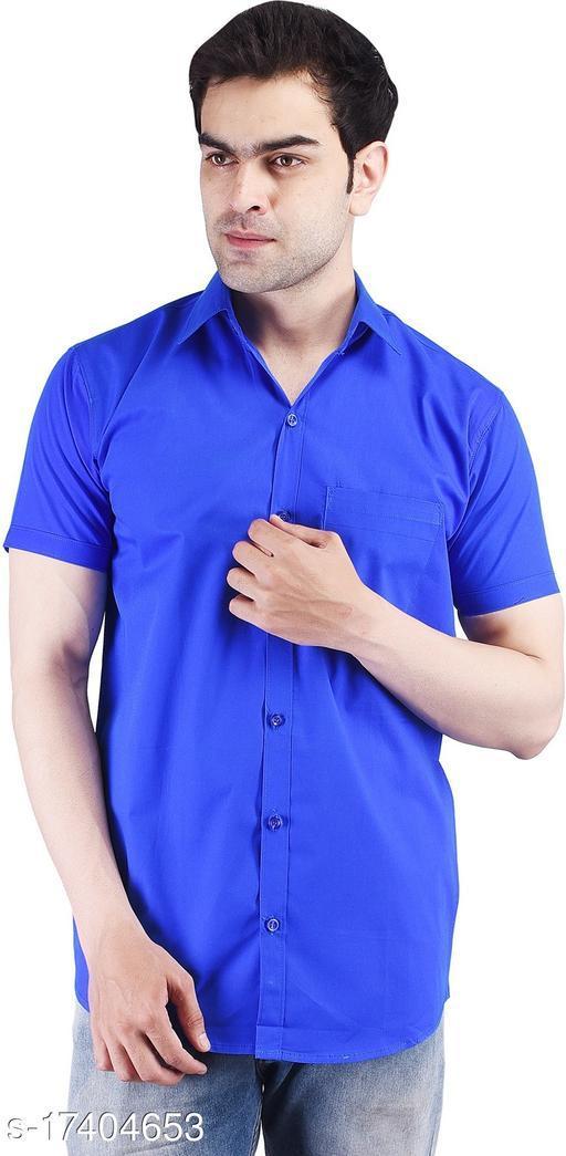 Rakshita Fashions Mens Royal Blue solid slim fit cotton Half sleeve Shirt(RAFS10029_RoyalBlue)