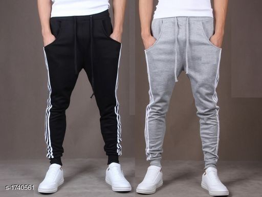 Trendy Casual Spun Polyester Solid Track Pants (Pack Of 2)