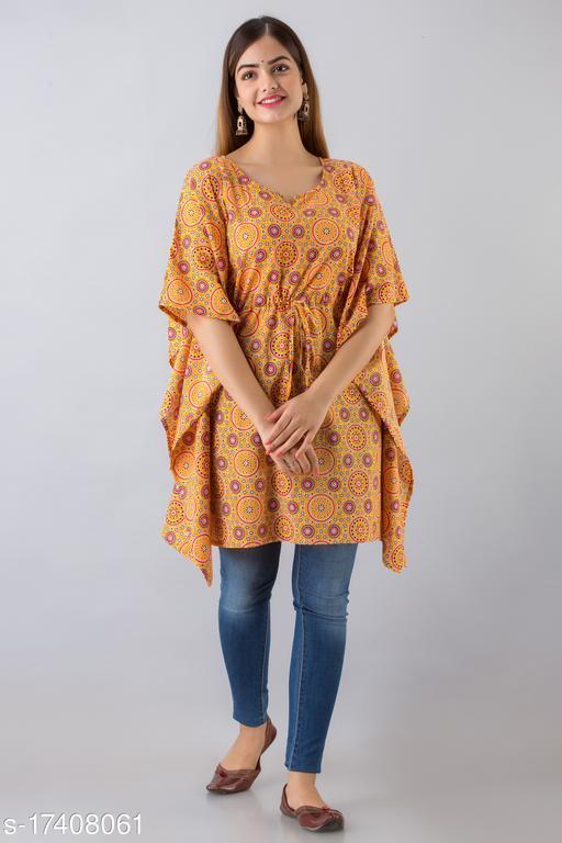 Women Cotton Kaftan Printed Mustard Kurti