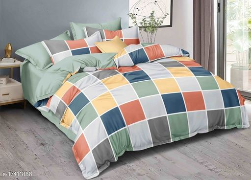 300 TC Printed bedsheet king size with 2 pillow cover (90x100 inch/17x27 Inch) bedsheet double bed
