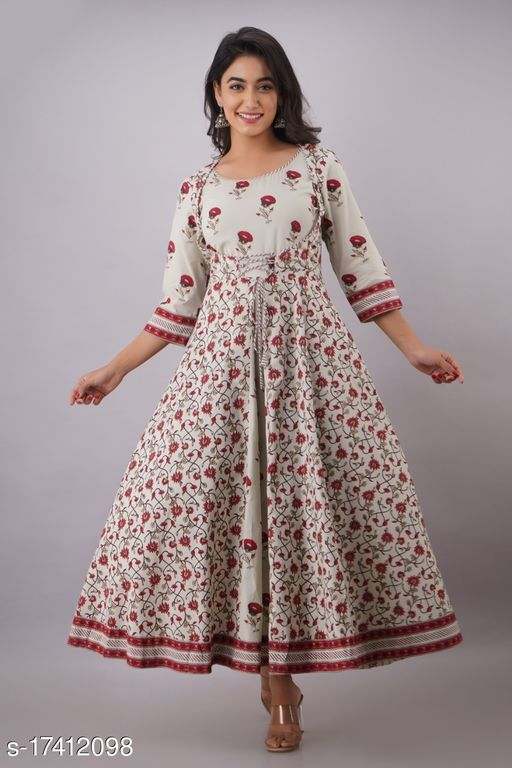 Tansu Collection Cotton Long Anarkali Gown with Attached Jacket Premium Quality (RT068)
