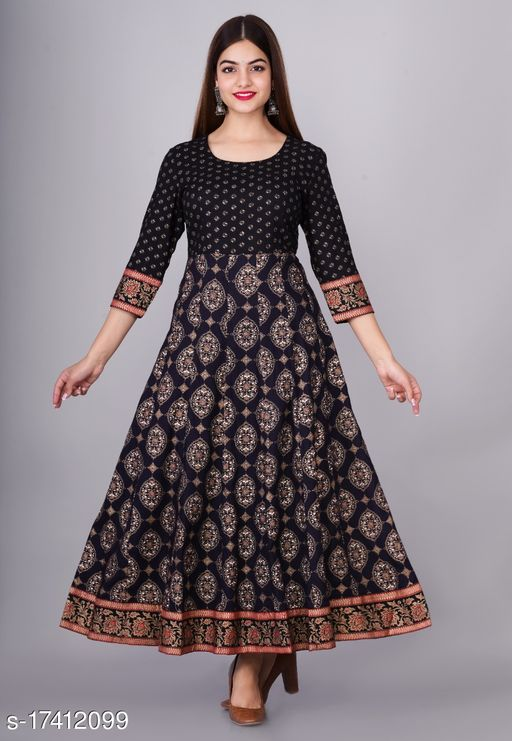 Tansu Collection Rayon Long Anarkali Gown Premium Quality (RT067)