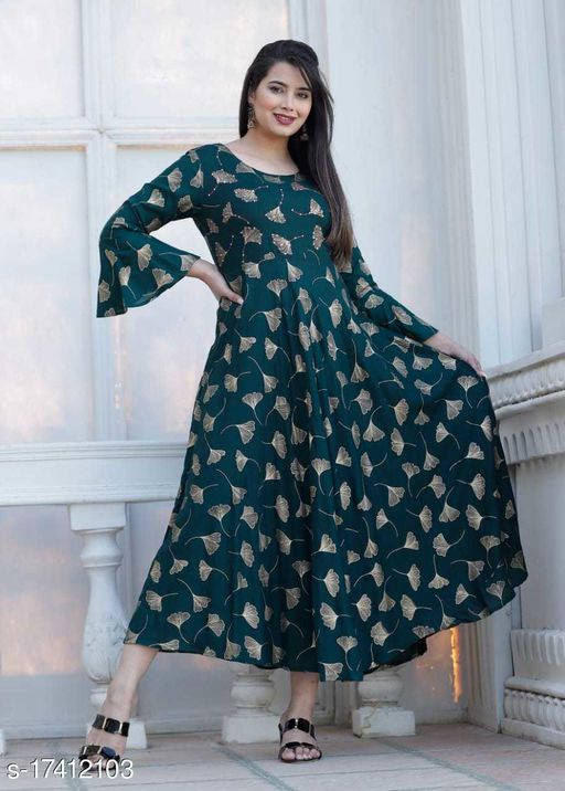 Tansu Collection Rayon Long Anarkali Gown Premium Quality (RT077)