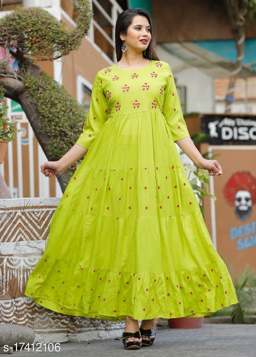 Tansu Collection Rayon Long Anarkali Gown Premium Quality (RT079)