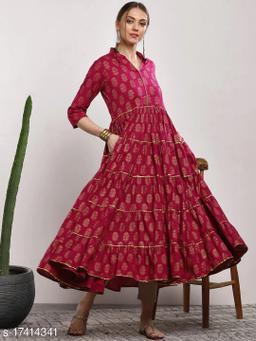 Women Pink Printed Tiered Anarkali Kurta